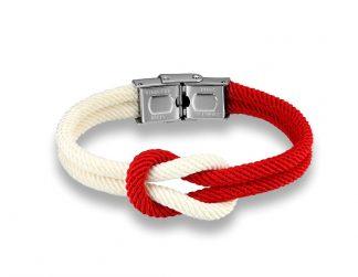 Armband mit Kreuzknoten rot und weiß