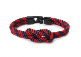 Armband mit Kreuzknoten rote und blaue gedrehte Kordel