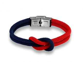 Armband mit Kreuzknoten rot und blaue Kordel